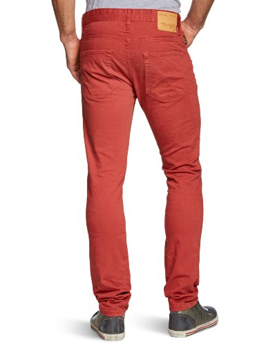JACK & JONES Herren Jeans Skinny Normaler Bund TIM ORIGINAL Rot (Ketchup)