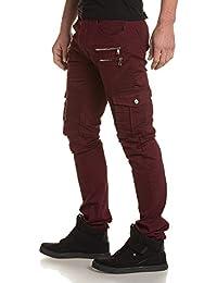 BLZ jeans - Jean bordeau homme multipoches et zips fantaisie