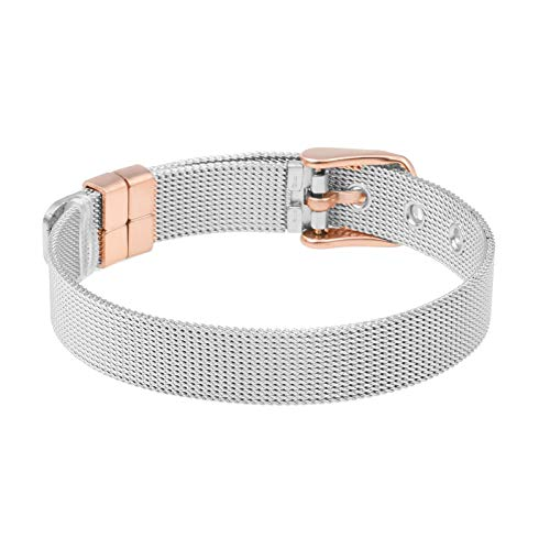 LUXERY Charm-Band Armband Damen, Edelstahl für Individuelle Anhänger Mesh Charms Edelstahl Frauen Silber Rose-Gold Silber-Rose