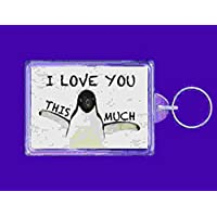 keyring double sided i love you this much penguin novelty funny new keychain key ring