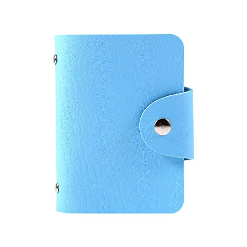 Portafoglio taschino portapenne porta carte credito pelle con 1 porta carte di credito in pu per 24 carte(blu)