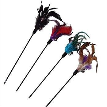 Vi. Yo Bâtons de jeu pour animal domestique Chat jouet Funny Cat classique artificiel plumes avec Bell Long bâton Multicolor 4pcs (couleur aléatoire)