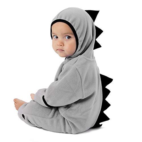 Cuddle Club Mono Polar Bebé para Recién Nacidos a Niños 4 Años - Pijamas Infantiles Chaqueta de Invierno Abrigo Polar Niño Mono de Niños - DinoGrey/Black3T