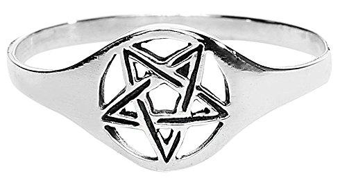 etNox magic and mystic Fine Silver Pentagram Anello standard M
