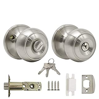 Probrico Stainless Steel Door Lock Set Exterior Door Konb Entrance Key Locker