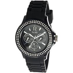 Nuvo - NU 131 - Armbanduhr für Damen - Quartz - Analog - Schwarzes Armband aus Silikon - Swarovski Elemente und Diamanten - Modisch - Elegant - Stylish -