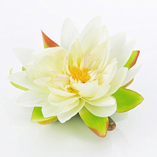 artplants Textil-Seerose Sanjana, schwimmend, weiß, Ø 16 cm - künstliche Lotusblüte/Kunstblume