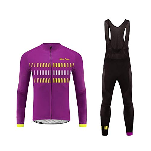 Uglyfrog Radtrikot Herren Fahrradbekleidung Set Outdoor Sports Langarm Radkleidung + Radfahren Latzhose Shorts im Herbst -