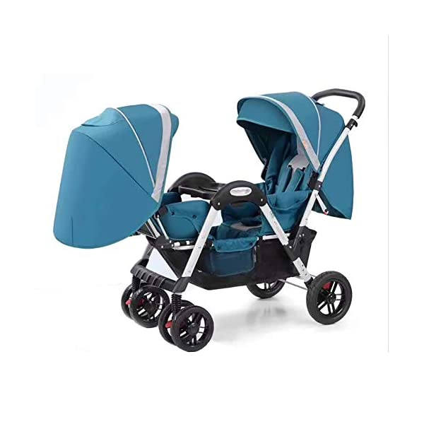 ZJGOODS Twin Baby Strollers for Boys And Girls with Adjustable Backrest Double Face to Face with Shock Absorber Comfortable Folding Trolley,B ZJGOODS TWIN STROLLER: Getting everywhere with two little ones has never been easier, thanks to the Double Strollers; you can glide around town even when you only have one hand free to steer; you can even roll through a standard size doorway. ADJUSTABLE BACKREST & CONNECTABLE SEATS :The backrest can adjust to fit baby's sleep posture to keep comfortable sleeping. Two seats can be connected to lengthen the seat. SAFETY WHEELS & 5-POINT SAFETY BELTS:The springs in front wheels absorb shocks for easy to control direction and safety. The 5-point safety belt is equipped with each seat to ensure security while keeping your baby fit to the safety belt to feel comfortable. 1