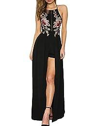 8afea841e0cff BoBoLily Donna Vestiti Lunghi Eleganti da Cerimonia Estivi Backless Vestito  da Sera Tute Ricamo Fiori con