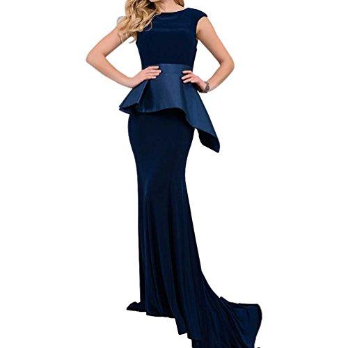 Alice Dressy Blau Mermaid Abendkleid Promkleid Brautmutterkleid Schleppe Samt Meerjungfrau Partykleid Festkleid lang
