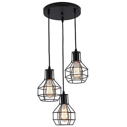 Industrial Lampara colgante,3 luces Rústica Lámpara de techo en Jaula de metal,Lámparas de araña Vintage estilo para Salón Hogar Dormitorio Hotel Comedor,E27,ajustable,color negro