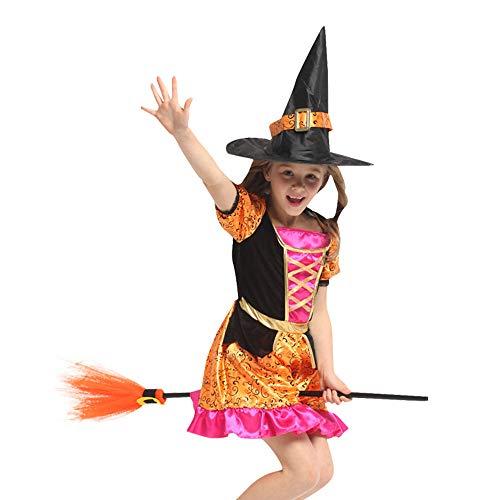 QINGQING Kinder Baby Mädchen Hexe Dress up Halloween Kinder Durchführung Kleidung Kostüm Kleid Party Kleider + Hexenhut Kinder Mädchen Halloween Kleidung Kostüm (Size : L(8-10years))