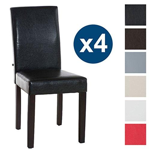 CLP Set 4X Sillas Comedor INA en Cuero Sintético I 4X Sillas de Salón-Comedor Acolchadas I Color: Marrón