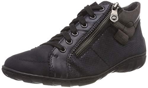 Rieker Damen M37A0 Hohe Sneaker, Blau Navy/Pazifik/Altsilber/Basalt 14, 39 EU