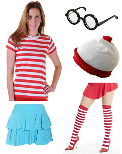 Women's Where's Wally Wenda Costume with Shirt, Ra-ra Skirt, Glasses, Hat and Socks. Sizes XS to XL