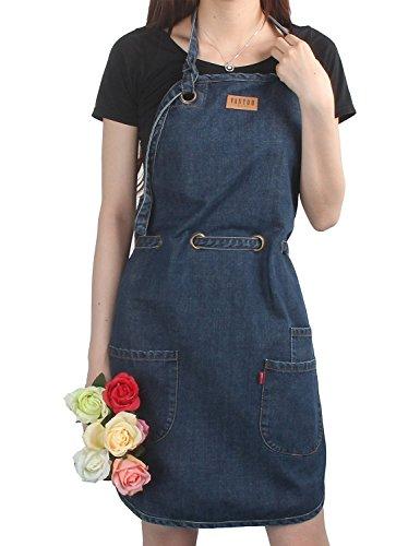 00% Baumwolle Kitchen Chef Art Malerei Denim Jean Schürze mit Taschen, navy blau (Walmart Halloween-make-up)