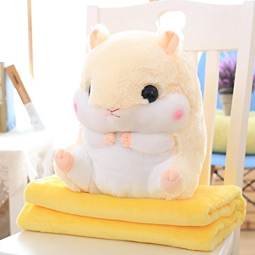 Rainbow Fox Niedlich Hamster Kissen Weich Ausgestopft Puppe Spielzeug Mit Flanell Decke Super Neu Beste Geschenk zum Kinder und Freundin (Beige) -