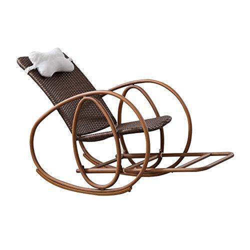 CJC Balancement Chaise Fauteuil Se Prélasser Bascule Plate-Forme Relaxant Inclinable Salon Siège Rotin Appui-tête (Couleur : Marron foncé)