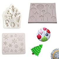 Silicone Christmas Baubles Snowflake Mould Deer Tree Balloon Snowman Santa Claus Bell Fondant Tool Cake Chocolate Mold Baking Icing Sugarcraft Candy Pack of 3
