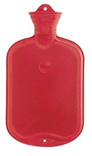 FabaCare Wärmflasche 2 L Gummi, Naturgummi Öko Wärmeflasche, 2 Seiten mit Lamellen, Rot