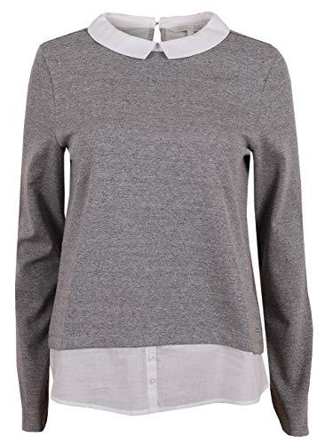 Feminine Denim Shirt Jacke (TOM TAILOR Denim Strick & Sweatshirts Schlichtes 2 in 1 Shirt Light Silver Grey Mélange, M)