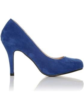 PEARL Scarpe da donna con tacco alto stiletto colore blu elettrico finto scamosciato