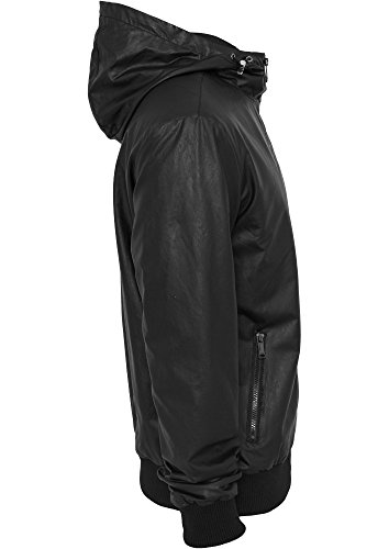 Light Leather Imitation Zip Hoody Schwarz