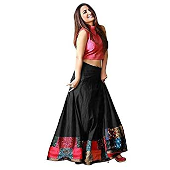 MAA KHODAL FASHION Women's Tapetta Silks Lengha Choli (Black, Free Size)