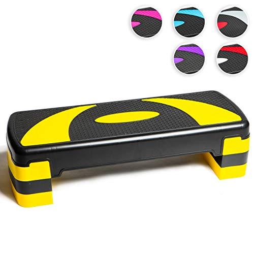 Step aeróbico 78cm ajustable en 3 alturas (10/15/20cm), Plataforma de ejercicio fitness step para su gimnasio en casa y entrenamiento físico, Stepper aerobic; 78 x 28 cm, negro y gris (Amarillo y Negro)