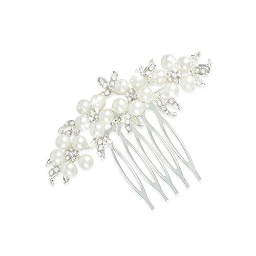 Gutian Damen Künstliche Perlen Kristall Blume Handarbeit DIY Braut Hochzeit Kamm Steckkamm HaarkammHaarschmuck - Kopf Kamm Braut