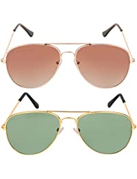 Criba Combo Of 2 Aviator (Brown) Aviator (Grey) Unisex Stylish & Desirable Sunglasses Gold Bn Sd +ggn_CRLK02
