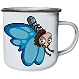 Nueva Mariposa Feliz Sonrisa Arte Retro, lata, taza del esmalte 10oz/280ml l334e
