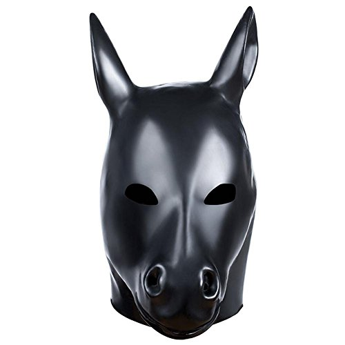 smaske Sklaven Maske Maskenspiel Karneval Party Ball Gesicht Augenmaske Bondage Leder Kopf Maske gepolstert SM Sex Spielzeug SM005, Cosy-L , horse (Leder Gesicht Kostüm)