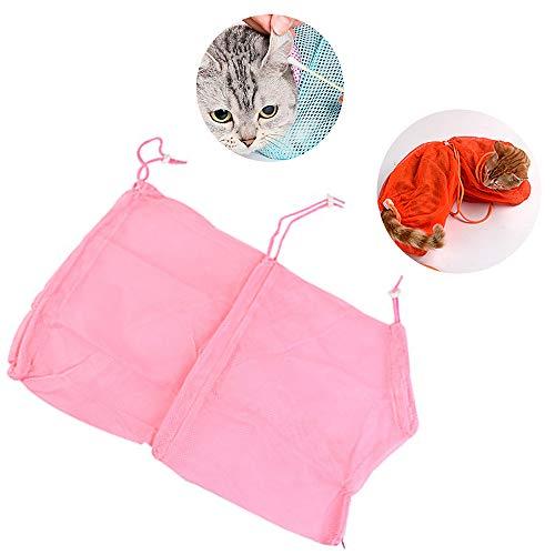 sche, Haustier Katzenpflege Waschen Bad Tasche Hochwertige Polyester Mesh Hochfeste Festigkeit Für Bad Nagel Schneiden Reinigungsmedizin Fütterung (3 Stücke),pink ()