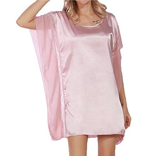 YUYU Des femmes Chemises de nuit Satin Soie Chemise de nuit Luxe Été Glisser les vêtements de nuit Pièce unique Unique taille Pink
