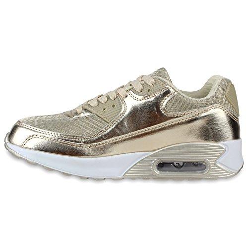 Stiefelparadies Trendige Unisex Laufschuhe Damen Herren Kinder Sportschuhe Metallic Glitzer Camouflage Sneaker Bunt Schnür Sport Turnschuhe Flandell Gold