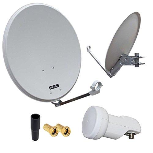 HD Digital SAT Anlage 60cm ALU Spiegel Schüssel Hellgrau + Single LNB 1 Teilnehmer zum Empfang von DVB-S/S2 Full HD 3D 4K Ultra HD (UHD) Signale + Stecker Gratis dazu im Set