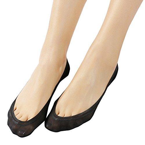Damen Füßlinge Unsichtbare Sneakers Baumwolle Nylon Socken mit Rutschfest Silikon(4Paar) (EU...
