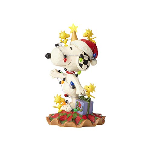 ENESCO Peanuts by Jim Shore Woodstock and Snoopy with Christmas Lights Lit Figur LED Mehrfarbig 6