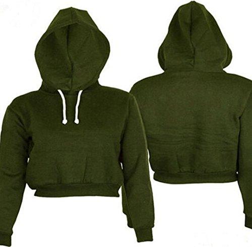 Autunno Lnverno Donna Corta Felpe con Cappuccio Elegante Crop Pullover Hooded Ragazza Maniche Lunghe Pullover Hooded Cappotti Verde