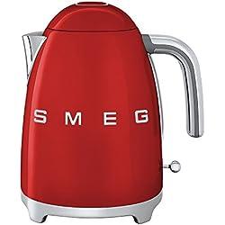 SMEG KLF03 - Hervidor agua 1,7l rojo/lacado/An. x Al. x P 22,3x24,8x17,1cm/resistencias integradas/Soft-Opening