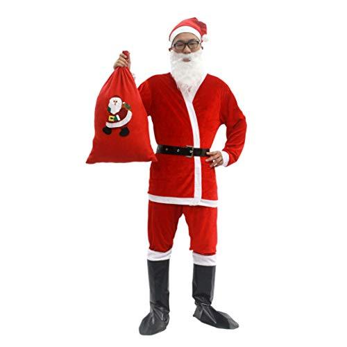 ZALA 5/7 Pezzi Costume da Babbo Natale per Uomini Donne - Costume da Babbo Natale con Cappello Bart Belt E Guanti - Costumi di Natale Costumi di Natale Rosso (B-MEN-7PCS)
