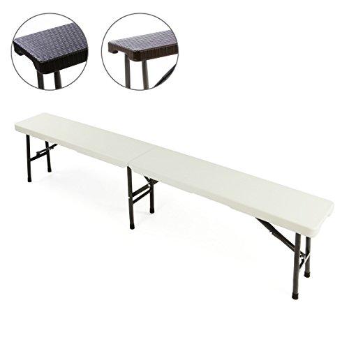 Nexos Partybank Klappbank 180 x 25 x 41 cm Bierbank bis 200 kg Gartenbank Garnitur robust stabil wetterfest Kunststoff für 4 Personen Farbe wählbar schwarz weiß (weiß)