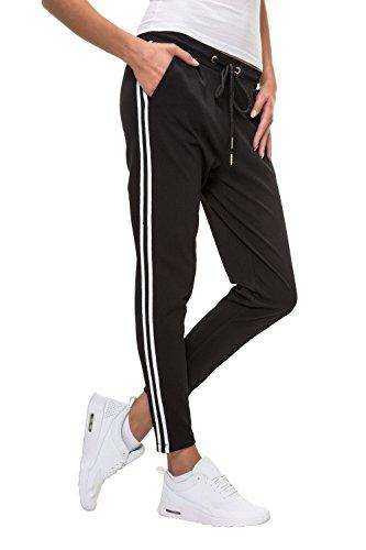 Hachiro Damen Freizeithose Jogginghose Hose Sportswear Style (M, Black)