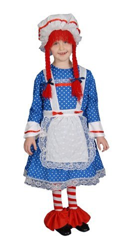 Raggedy Kind Ann Kostüm - Dress Up America Mädchen Deluxe Stoffpuppe Kostüm Set