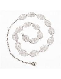 921db198a803 Ceinture chaîne motif feuilles pour femme, 108 cm, Alliage, Silver, ...
