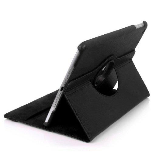 E2G Étui en cuir PU avec support rotatif à 360 ° pour iPad Air, Housse pour le nouveau iPad 5 5ème génération Nov 2013 avec stylet et film protecteur d'écran