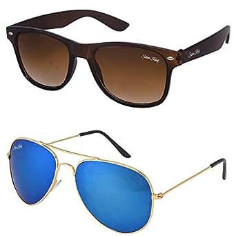 Silver Kartz Cellulose Acetate Titanium Alloy Unisex Sunglasses Combo (cm208|55|Brown)