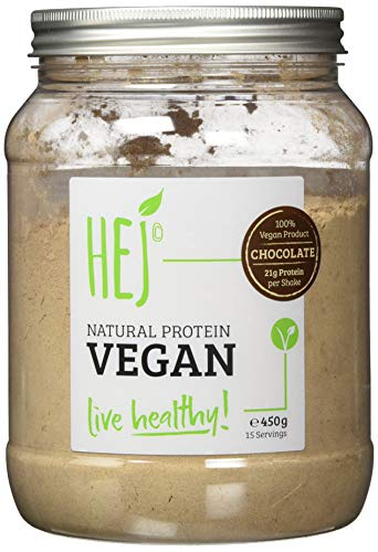 HEJ Natural Protein Vegan Schoko - Veganes Protein - Pflanzliches Proteinpulver aus hochwertigem Reis- und Erbsenprotein - Veganes Proteinpulver - 1er Pack (1 x 450g)